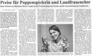 Preise für Puppenspielerin und Landfrauenchor